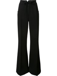 Roland Mouret Flared Pleated Trousers Black