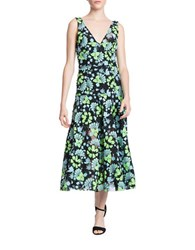 Tracy Reese Frock A Line Floral Midi Dress Blue