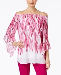 Alfani Printed Off The Shoulder Printed Peasant Blouse Only At Macy's Feather Orchid