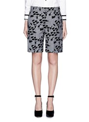 Marc Jacobs Flocked Animal Print Glen Plaid Wool Shorts Multi Colour