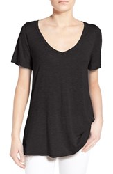 Women's Socialite Back Cutout Slub V Neck Tee Black