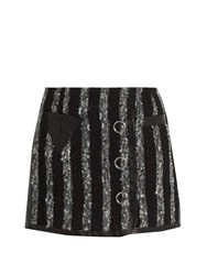 Alexander Wang Leather Trimmed Striped Tweed Mini Skirt Black Grey