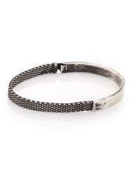 Title Of Work Sterling Silver Mesh And Solid Bracelet