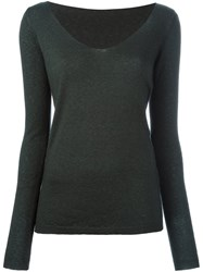 Roberto Collina V Neck Jumper Green
