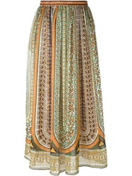 Valentino Tribal Print Maxi Skirt Brown