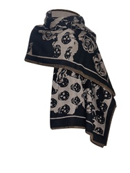 Alexander Mcqueen Skull And Roses Wool And Cashmere Blend Blanket