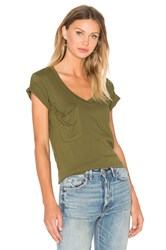 Bobi Light Weight Jersey V Neck Front Pocket Tee Green