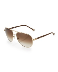 Ermenegildo Zegna Round Metal Aviator Sunglasses Golden Brown