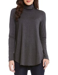 Karen Kane Long Sleeve Turtleneck Tee Grey