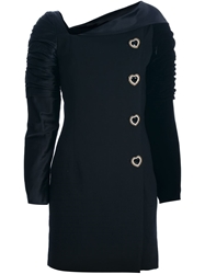 Gianni Versace Vintage Structured Buttoned Dress Black