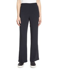 Helmut Lang Stretch Crepe Flare Pants Navy