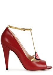 Gucci Red Embroidered Lips Leather Pumps