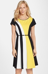 Belted Colorblock Ponte Fit And Flare Dress Black White Yellow