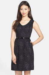 Rose Jacquard Sleeveless Fit And Flare Dress Black