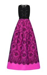 Andrew Gn Bicolor Sleeveless Lace Gown Fuchsia