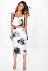 Boohoo Floral Layered Crop And Midi Skirt Co Ord Multi