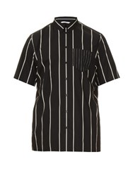 Givenchy Striped Short Sleeve Cotton Shirt Black Multi