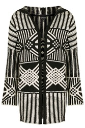 Topshop Oversized Hooded Cardigan Monochrome