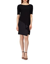 Kay Unger Draped Sheath Dress Black