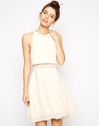 Asos Sheer And Solid Skater Dress Nude