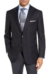 Hickey Freeman Men's Big And Tall 'Lindsey' Classic Fit Wool Travel Blazer Navy