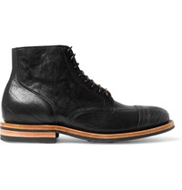 Viberg Brogue Detailed Leather Service Boots Black