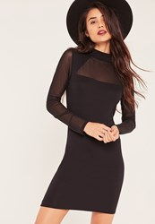 Missguided Black Mesh Triangle Insert Bodycon Dress