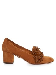 Aquazzura Wild Thing Suede Block Heel Loafers Tan