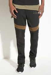 Forever 21 Intd Stitched Panel Colorblock Joggers Black Olive