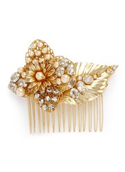 Miriam Haskell Swarovski Crystal Glass Pearl Floral Leaf Hair Comb White Metallic