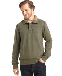 G.H. Bass And Co. Sueded Sherpa Lined Mock Neck Fleece Forest Night