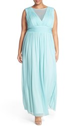 Plus Size Women's Marina Illusion V Neck Sleeveless Gown Blue