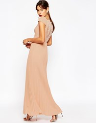 Asos Wedding Lace Back Pleated Maxi Dress Beige