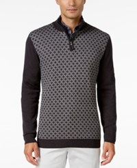 Tasso Elba Men's Pattern Quarter Zip Sweater Only At Macy's Black Twist