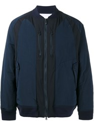 White Mountaineering Panelled Bomber Jacket Blue