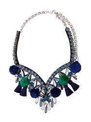 Shourouk Pompom Embellished Necklace Blue