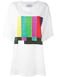 Facetasm Oversized Printed Front T Shirt White