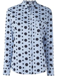 Paul Smith Ps By Polka Dot Button Down Shirt Blue