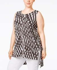 Alfani Plus Size Printed Asymmetrical Tunic Only At Macy's Graphic Plaid