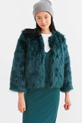 Kimchi And Blue Zola Faux Fur Cropped Bomber Jacket Green