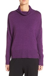 Eileen Fisher Women's Wool Blend Jersey Turtleneck Sweater Raisin