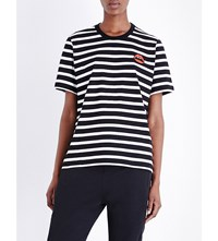 Markus Lupfer Lara Lip Striped Cotton Jersey T Shirt Black White