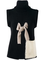 Hache Tie Cutout Detail Jumper Black