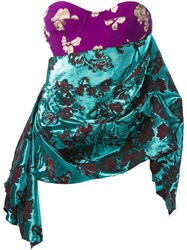 Marques Almeida Floral Brocade Draped Corset Pink And Purple