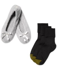 Gold Toe Women's Black Turn Cuff Socks 3 Pack With Slippers
