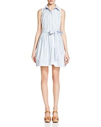 Milly Breton Stripe Sleeveless Shirt Dress Blue