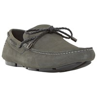 Dune Barnacle Suede Driving Loafers Grey