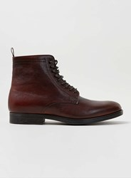 Topman Burgundy Leather Lace Up Boots Red