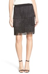 Trouve Women's Trouve Stretch Knit Fringe Skirt