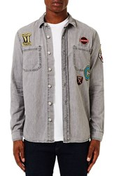 Topman Men's Denim Shirt With Embroidered Patches
